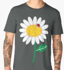 Whimsical Summer White Daisy and Red Ladybug Men's Premium T-Shirt