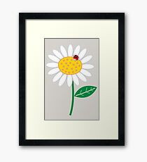 Whimsical Summer White Daisy and Red Ladybug Framed Print