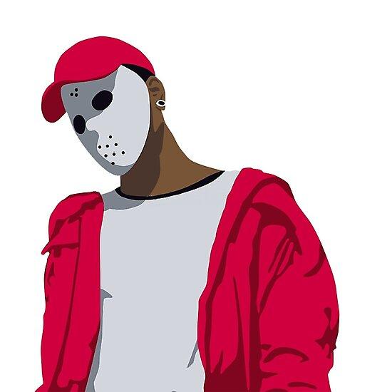 "ski mask the slump god cartoon digital drawing / art"" photographic"