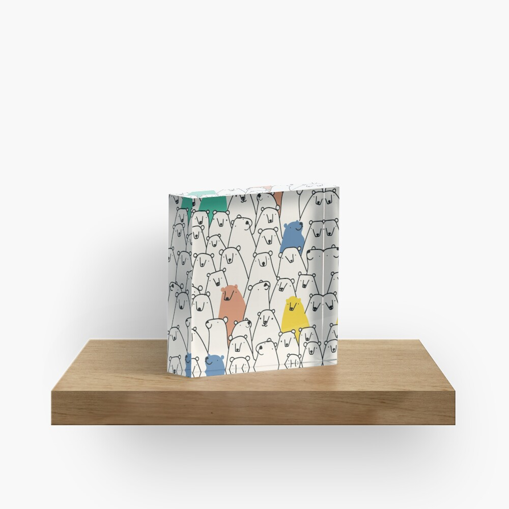 Bears pattern Acrylic Block