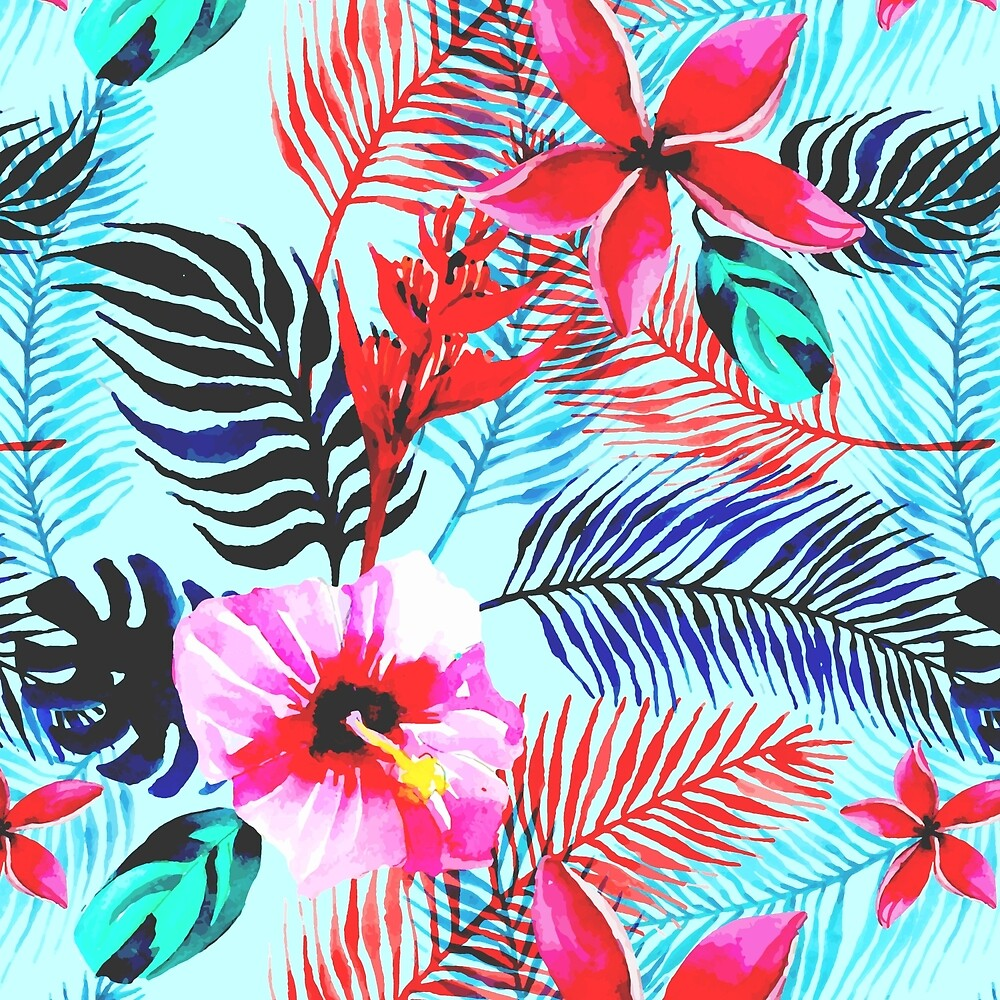 Tropical Floral Pattern with Hibiscus by Vicky Brago-Mitchell