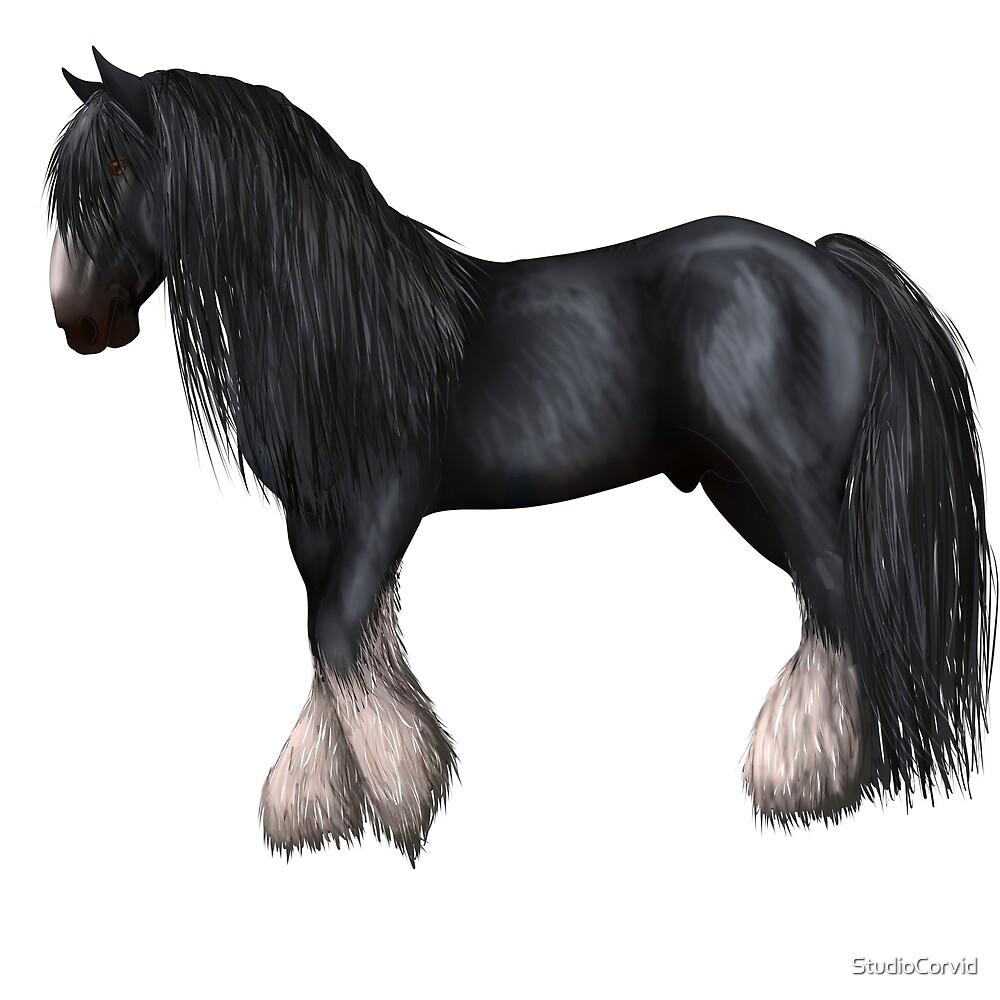 Black shire horse by StudioCorvid