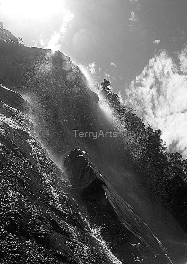 Looking up the falls by Teresa Schultz