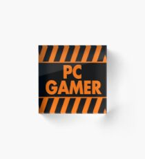 Warning Pc Gamer (orange) Acrylic Block