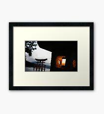 Miyajima night light Framed Print