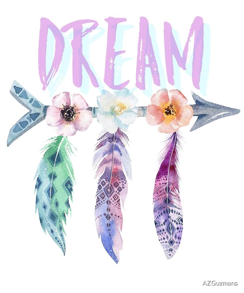 Dream Bohemian Feathers Arrow Flowers by AZGuzmans