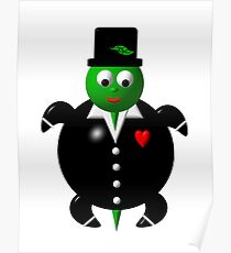 Cute turtle wearing a tuxedo Poster
