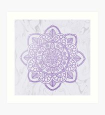 Lavender Mandala on White Marble Art Print