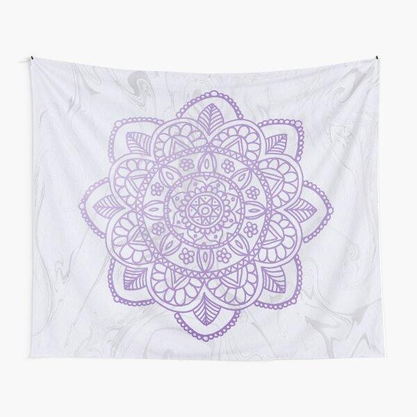 Lavender Mandala on White Marble Tapestry