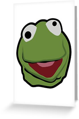 Kermit the frog face greeting cards by itzalfie redbubble kermit the frog face by itzalfie m4hsunfo