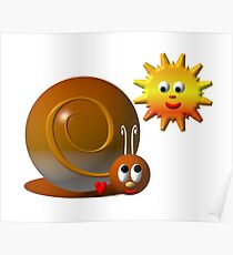 Cute snail with a smiling sun Poster