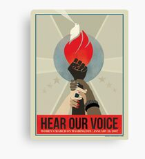 Women's March Protest Poster – Hear Our Voice Canvas Print