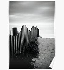 Black & White fence beach Poster