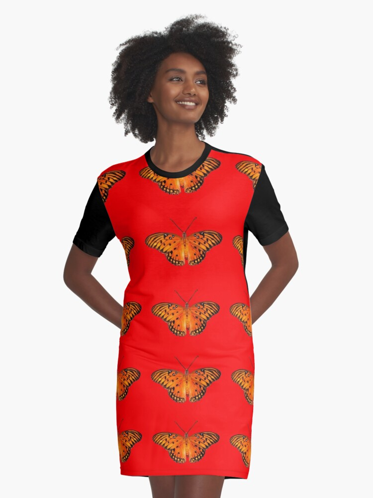 Passion butterfly on red Graphic T-Shirt Dress Front