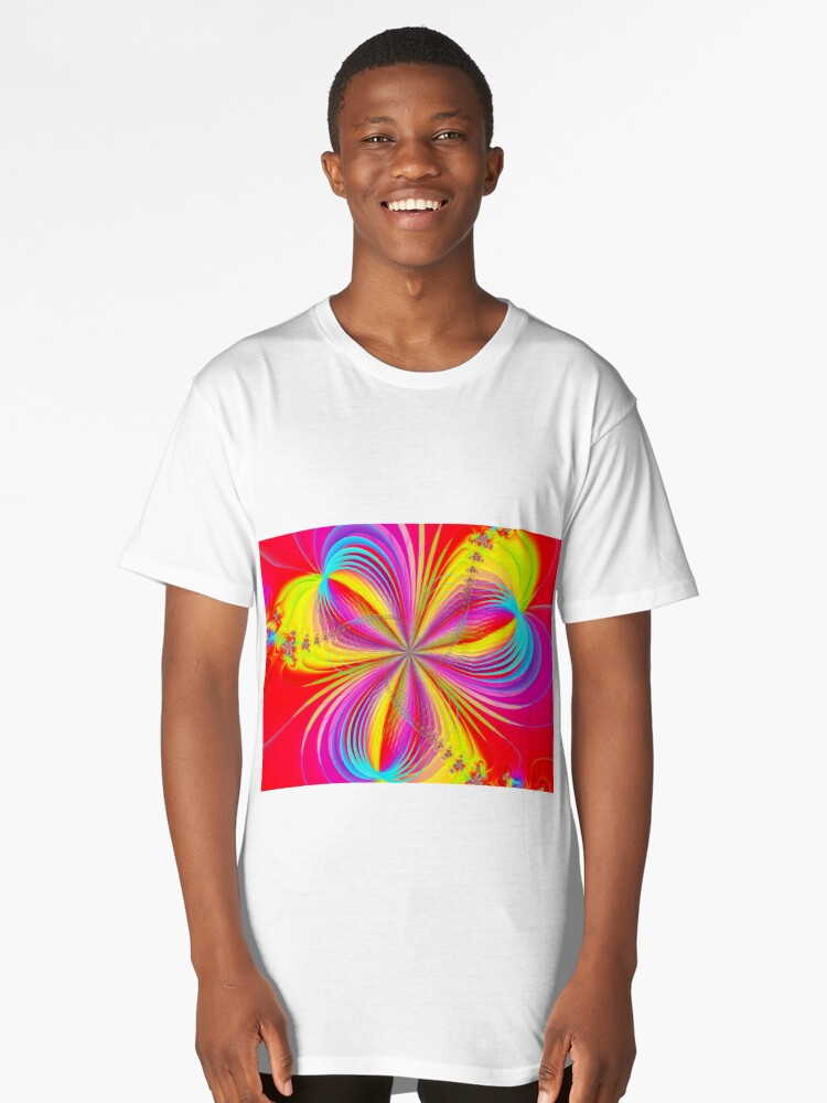 Red Colorful Flower Ribbons Long T-Shirt Front