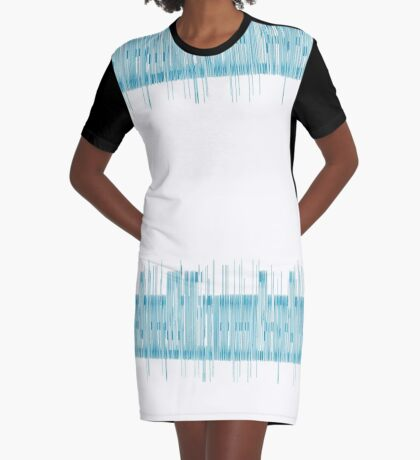 Beautiful Blue Heart Beat Design Graphic T-Shirt Dress