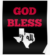 God Bless Y'all Texas Map Southern State Poster