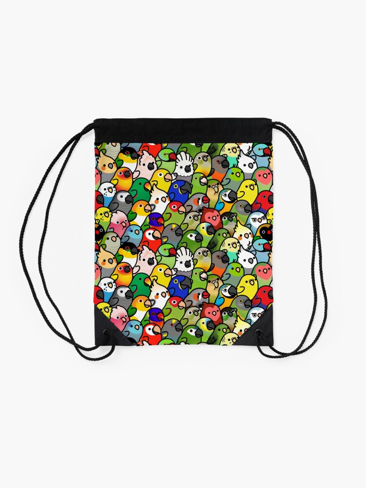 Alternate view of Everybirdy Pattern Drawstring Bag