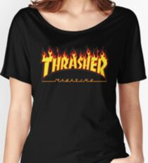 Thrasher Magazine - Awesome Flaming Skater Design Women's Relaxed Fit T-Shirt