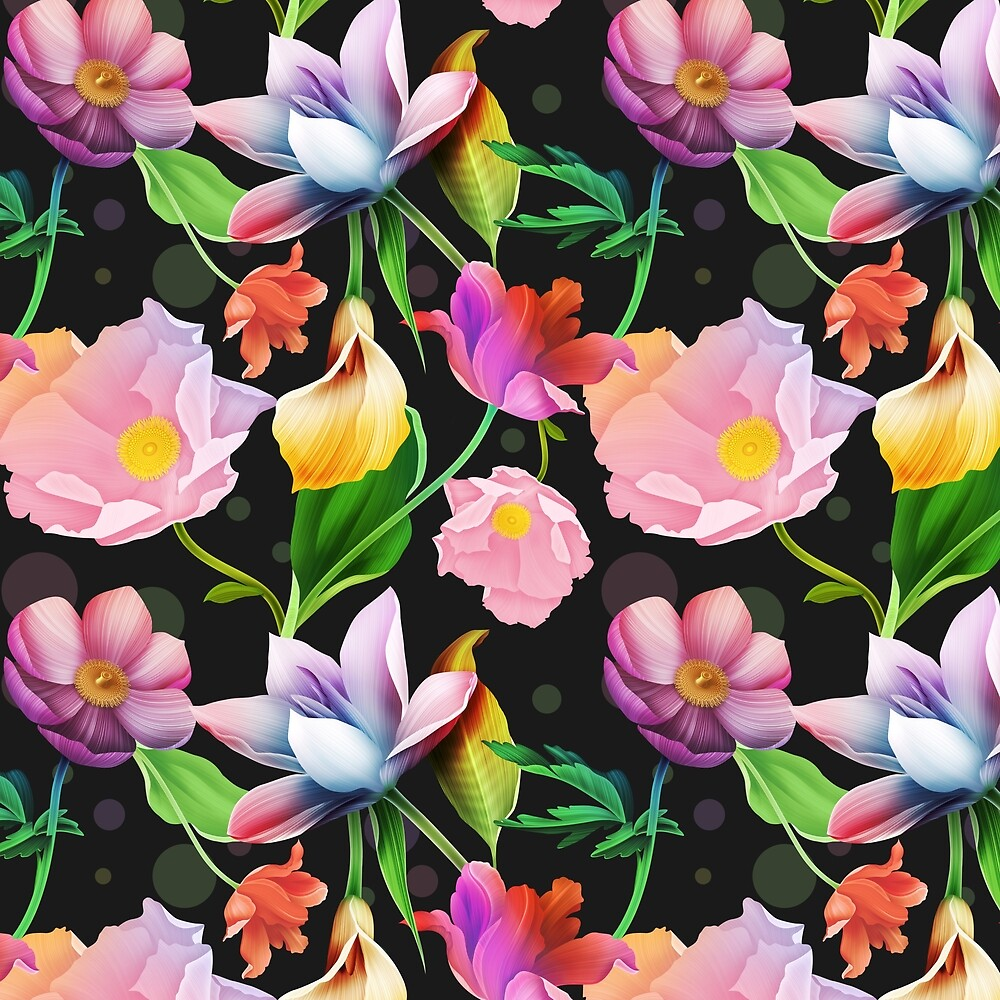 Bold & Bright Colored Tropical Flowers on Black Background by Elaine Plesser