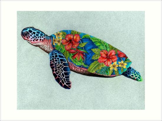0312326bd Lámina artística «Tortuga marina con concha de hibisco» de Shamazingart |  Redbubble