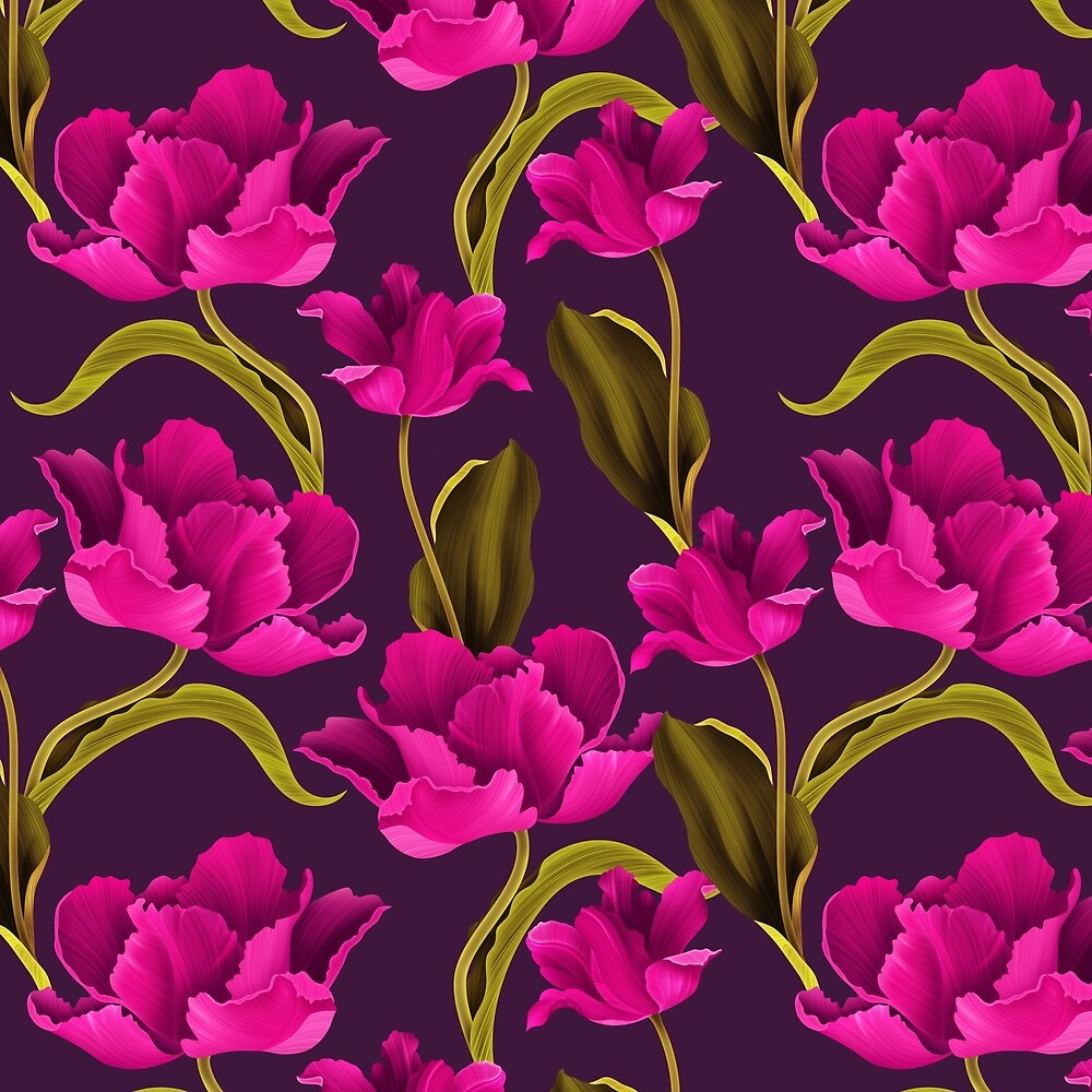Bold & Bright Hot Pink Colored Parrot Tulip Flowers on Dark Background by Elaine Plesser