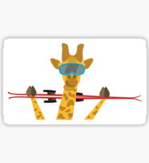 Giraffe with skis Sticker