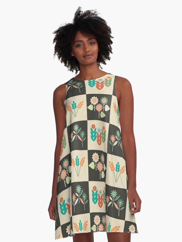 Flowery 4 Seasons - Green A-Line Dress Front