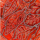 Leaves 24 Monoprint with Ink Original Colour by Heatherian