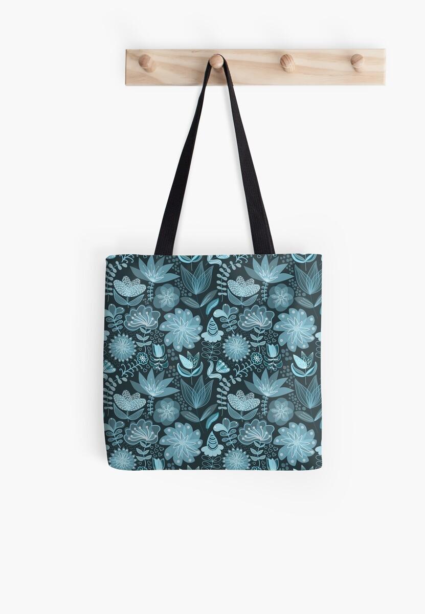 Vintage Blue Floral by pugmom4