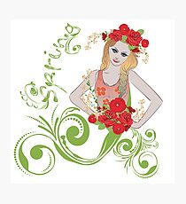 Spring girl with flowers Photographic Print