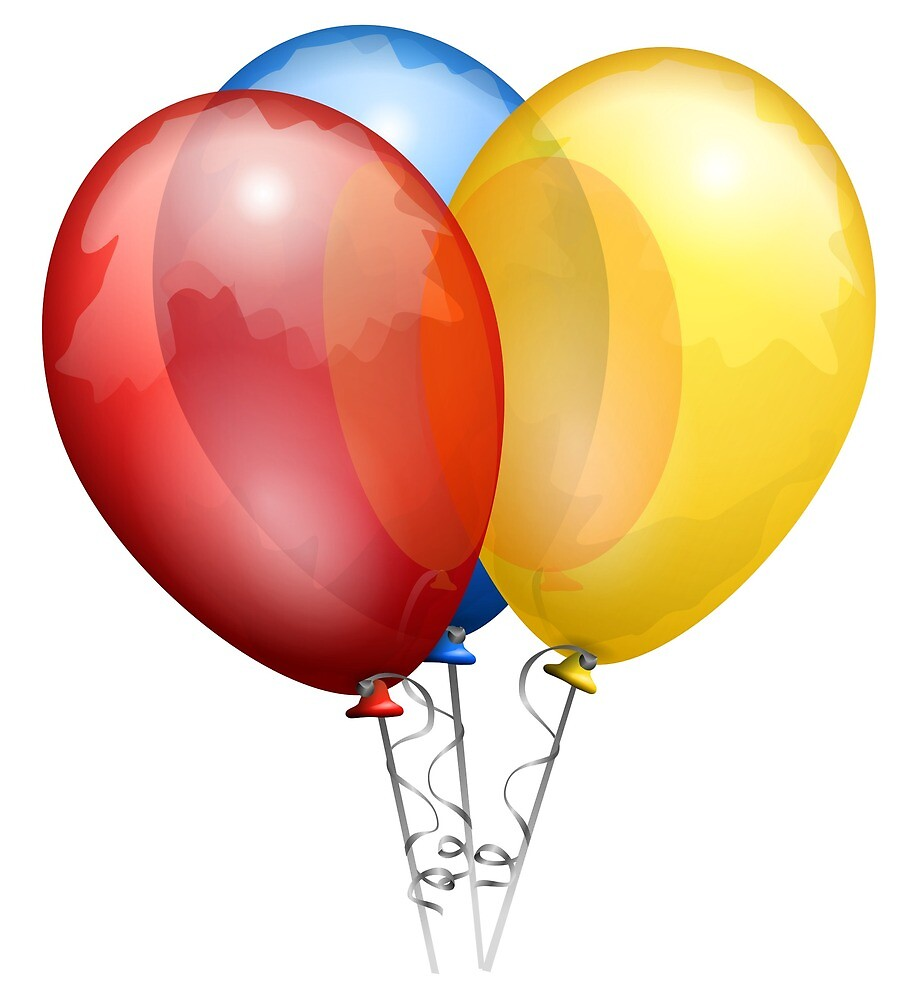 A group of three balloons on ribbons by greengoodnich