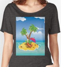 Red Bikini Girl on Island Women's Relaxed Fit T-Shirt