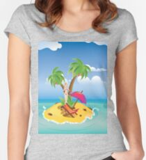 Red Bikini Girl on Island 2 Women's Fitted Scoop T-Shirt