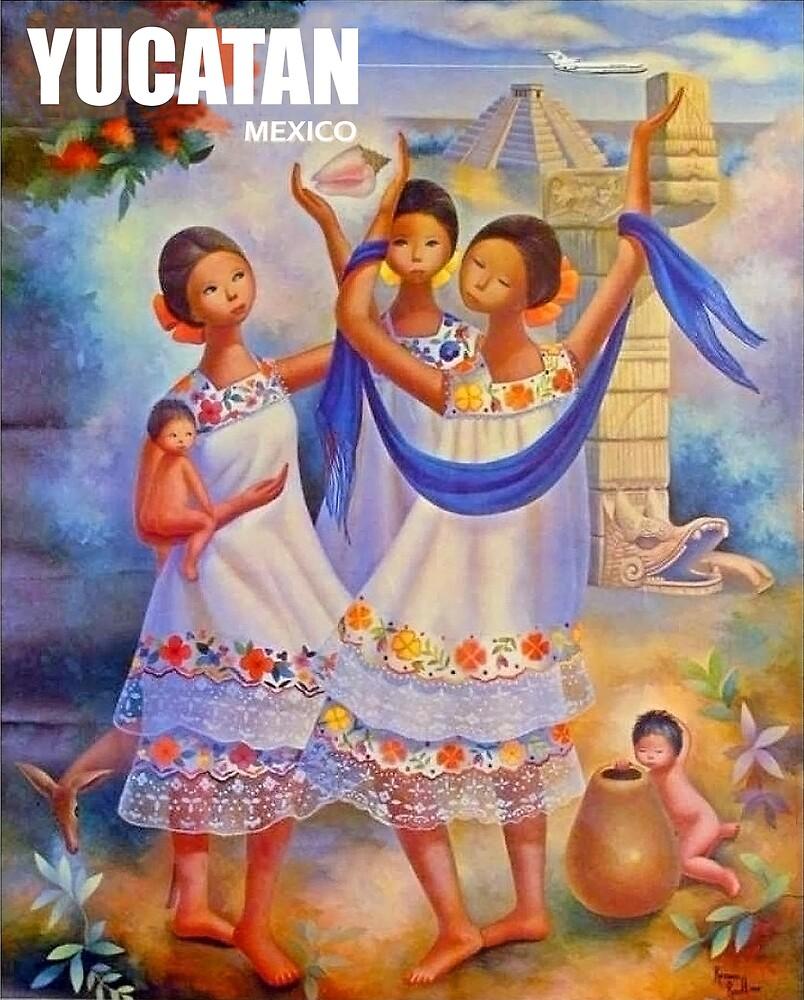 Yucatan, Mexico, three women, travel poster by AmorOmniaVincit