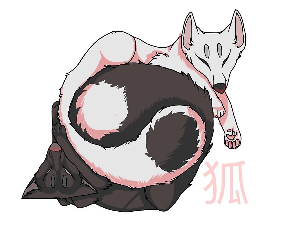 Yin-Yang Foxes by Mynxmeow