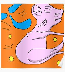 Strecthed out sleeping newborn kitten. Poster