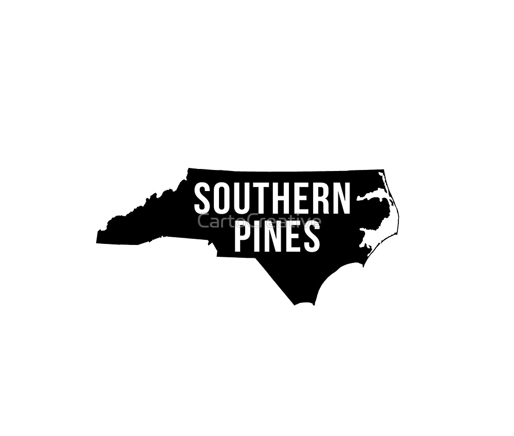 Southern Pines, North Carolina Silhouette by CartoCreative