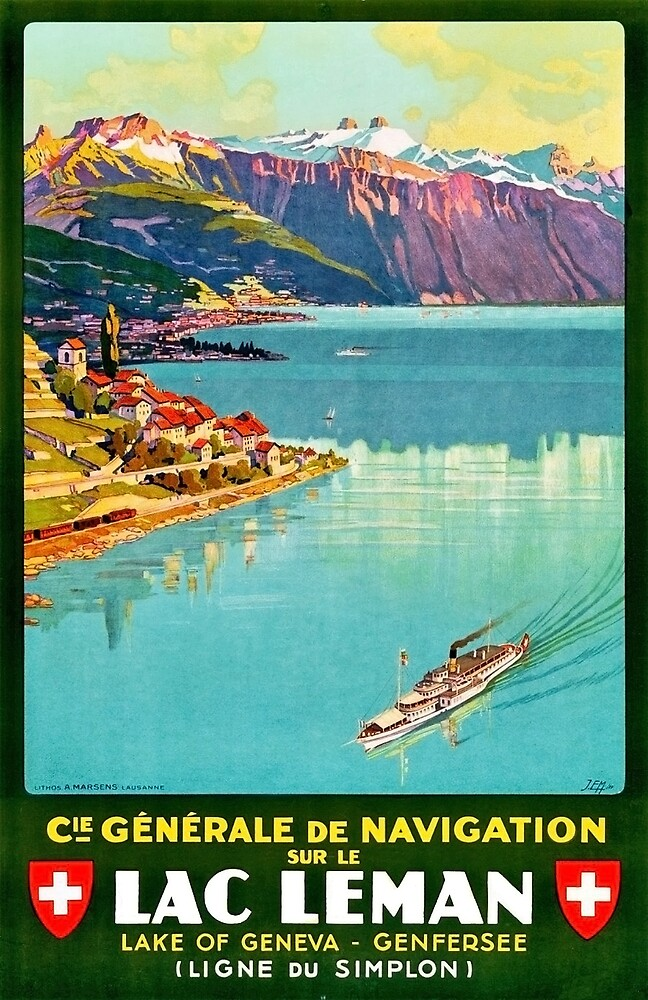 Geneva Lake, Switzerland, tourist ship, travel poster by AmorOmniaVincit