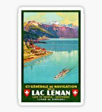 Geneva Lake, Switzerland, tourist ship, travel poster Sticker