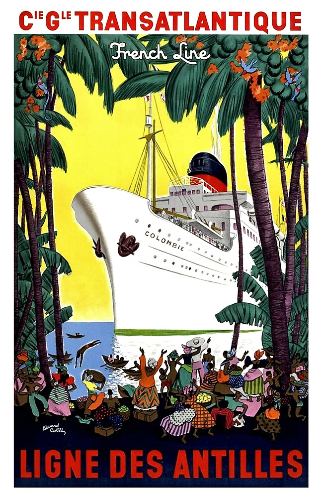 Trans Atlantic French line, cruiser, tourist ship, travel Poster by AmorOmniaVincit