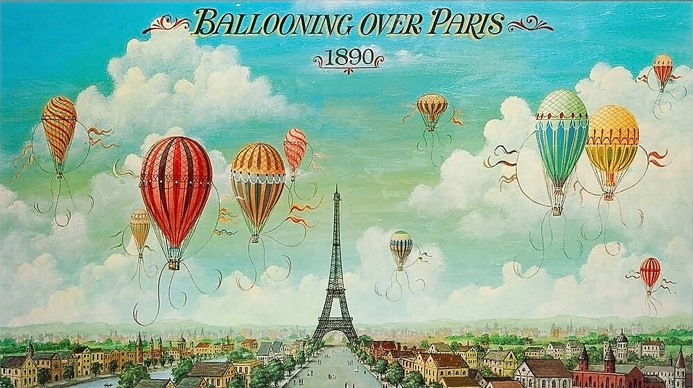 Hot air balloons fly over Paris, vintage art, travel poster by AmorOmniaVincit