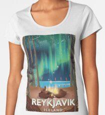 Reykjavik Camping Vintage Travel Poster Women's Premium T-Shirt