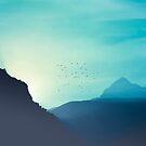Sundancers - Birds and mountains at sunrise by Dirk Wuestenhagen