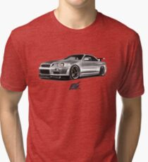 Camiseta de tejido mixto nissan skyline gtr r34