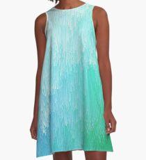 Rainforest - Blue and Green Glitch  A-Line Dress