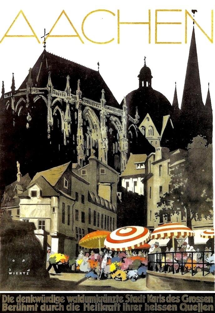 Aachen, German city, Germany, travel poster by AmorOmniaVincit
