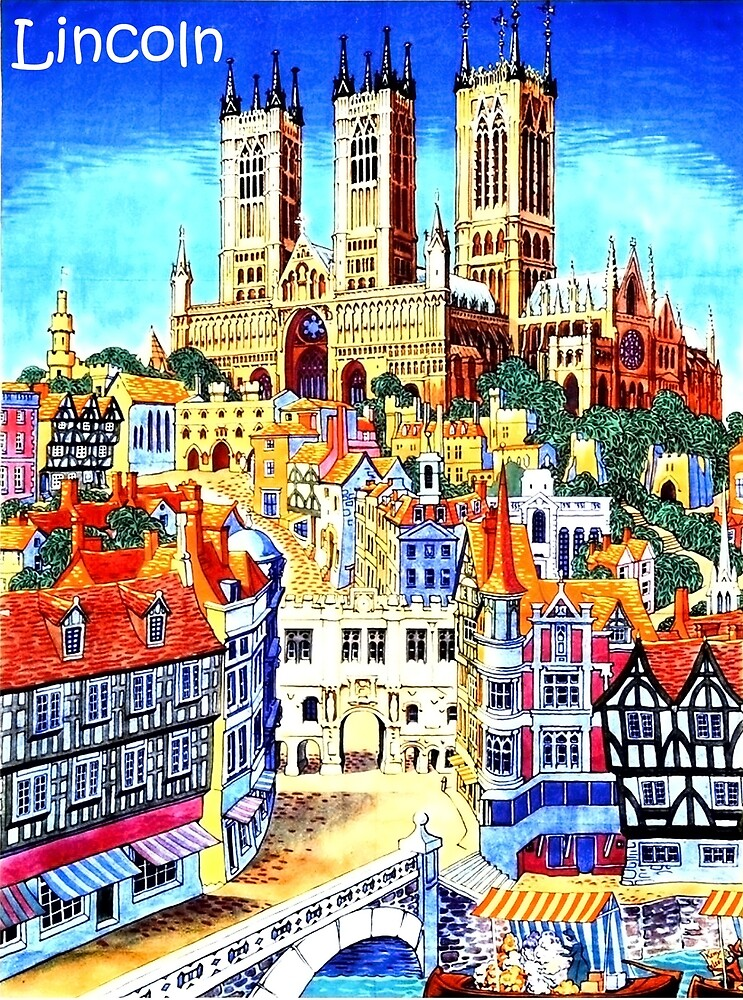 Lincoln, city, Cathedral, England, travel poster by AmorOmniaVincit