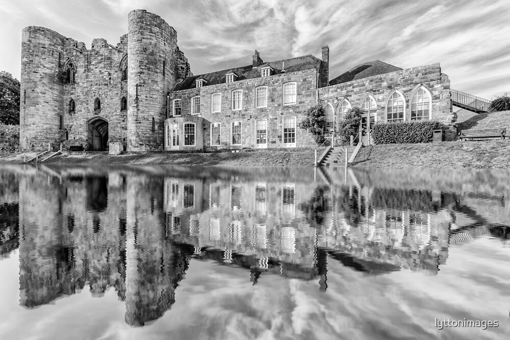 Tonbridge Castle Reflections (black and white) by lyttonimages