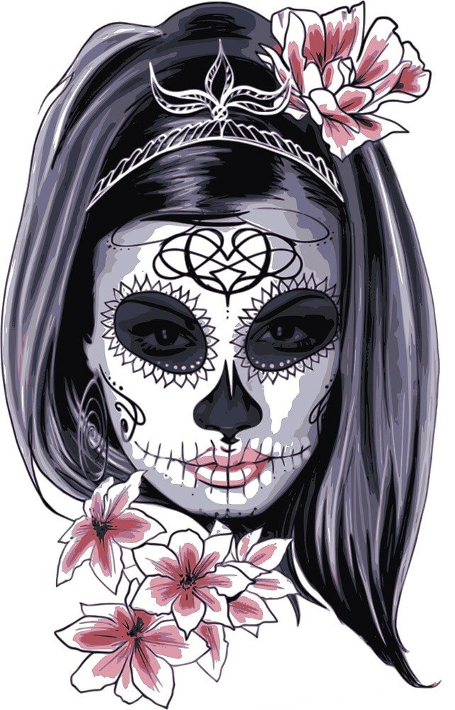 Mask Carnival Day of the Dead Floral Woman  by Bubble-Designs
